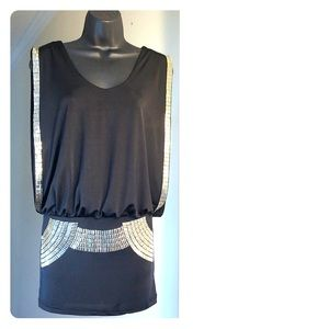Black dress or top size small with silver accents